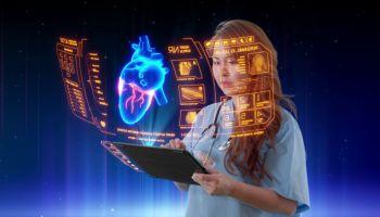 santé médecin femme holographique écran tactile holographique futuriste