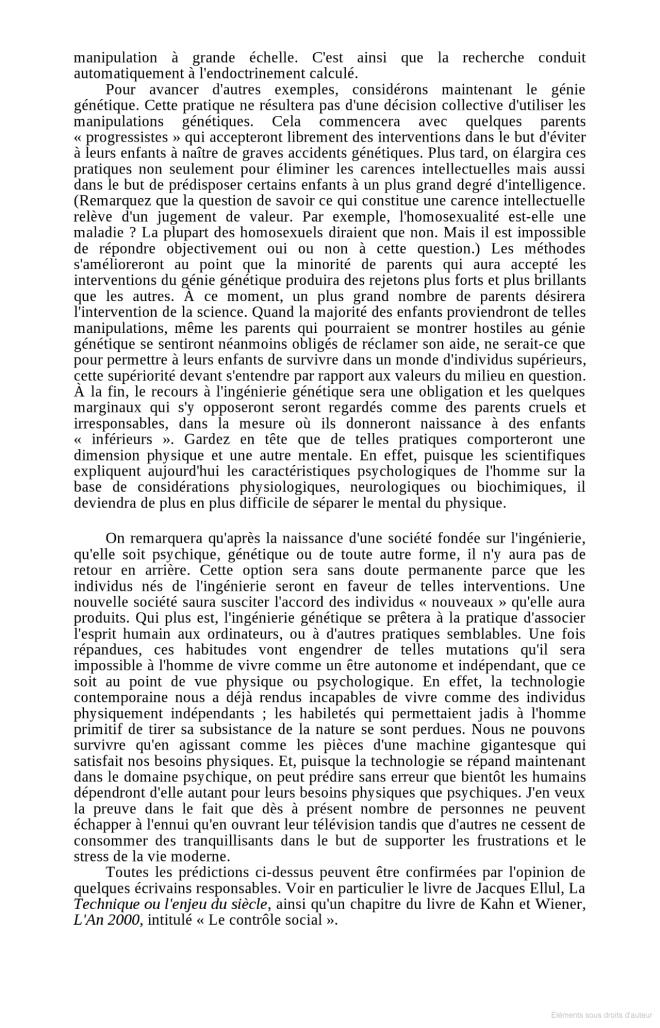 Manifeste de 1971 - l'Avenir de la société industrielle extrait