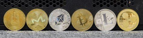 digital Cryptocurrency, Litecoin (LTC), Bitcoin (BTC), Ethereum (ETH) and Ripple (XRP)