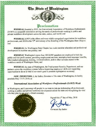 Governor Issues Proclamation Recognizing Important Contributions of IAWP Members
