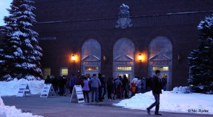 The line outside the West Gym an hour and a half before first whistle