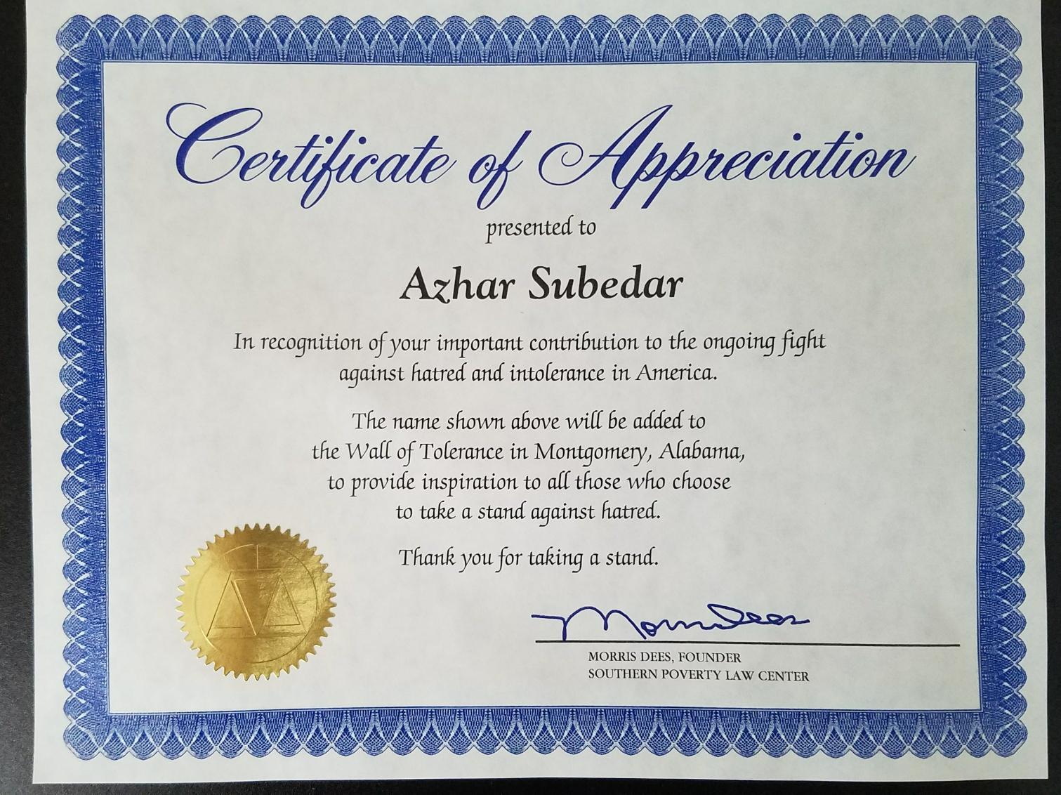 Founder Of South Poverty Law Center Awards Imam Azhar