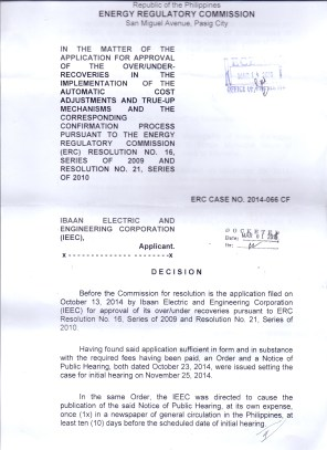 OVER RECOVERY IBAAN ELECTRIC 31.3 MILLION PESOS PAGE 1