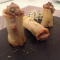 Tubos de patata rellenos de hongos