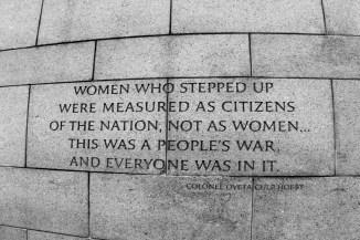 Inscription honoring women's contributions
