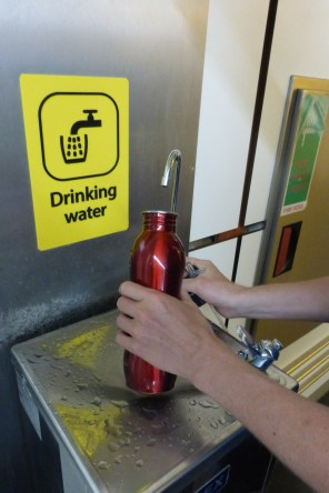 A water refill spot at Gatwick airport
