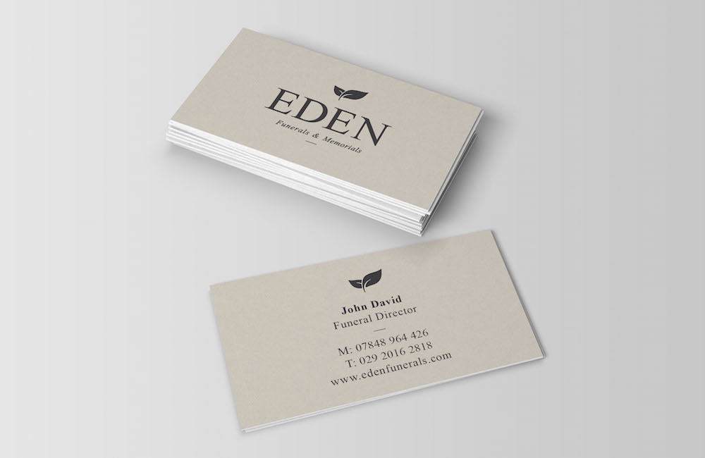business card design for funerals & memorials service Eden