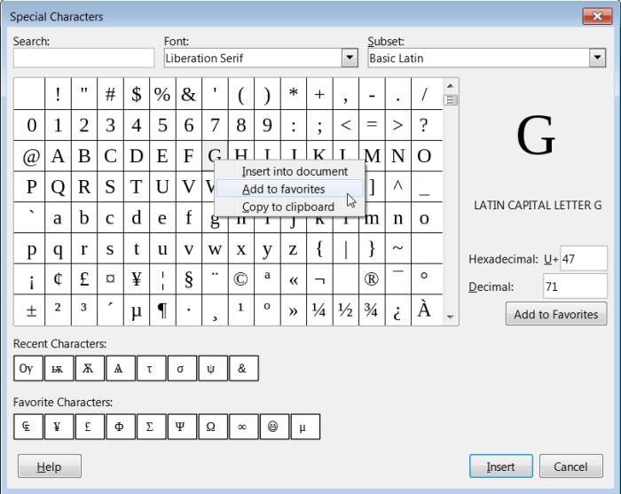 Special Symbol dialog in LibreOffice 6