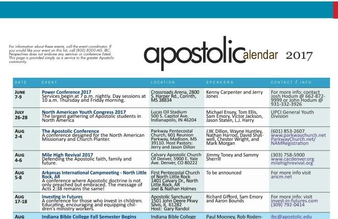 Apostolic Calendar – June 2017