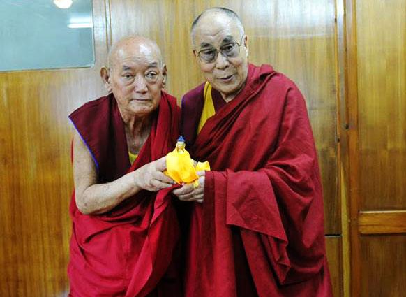 His Holiness the Dalai Lama and Geshe Damchoe Gyaltesen