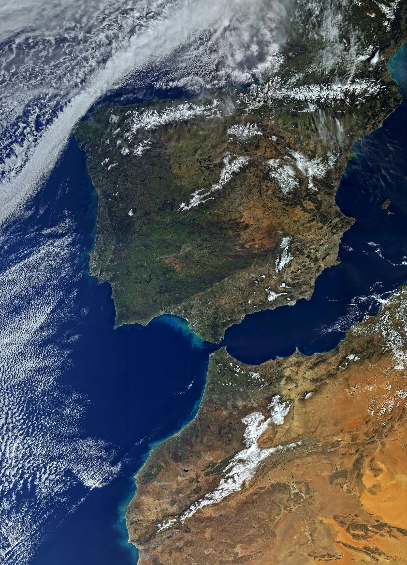 Picture from the OLCI instrument of the satellite Sentinel 3A of Spain and Portugal