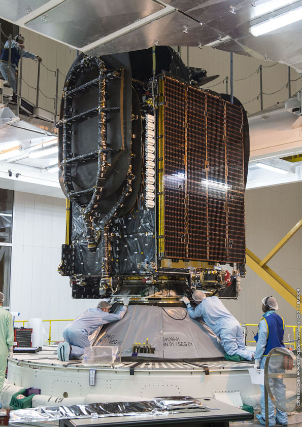Brisat during integration at Kourou previously to be launch on board an Ariane 5