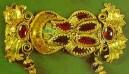 Золотое украшение, Вани, ок. IV в. до н.э. Альмандин (гранат), эмаль.
