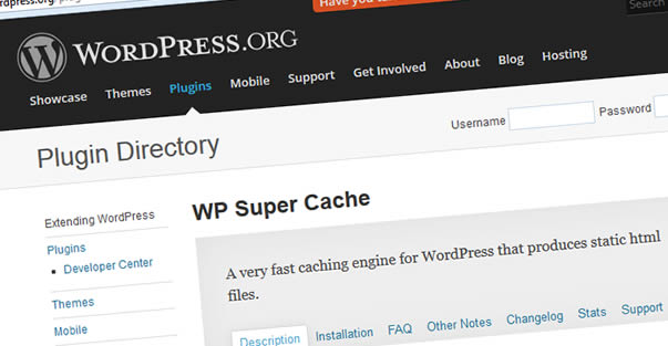 Wordpress plugin - WP Super Cache