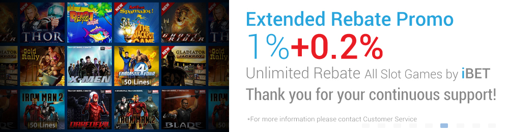 iBET Slots Game Extended Rebate 1%+0.2% Unlimited Cash Bonus (iBET Malaysia only)