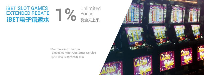 iBET Slot Games Extended Rebate 1% Unlimited Bonus
