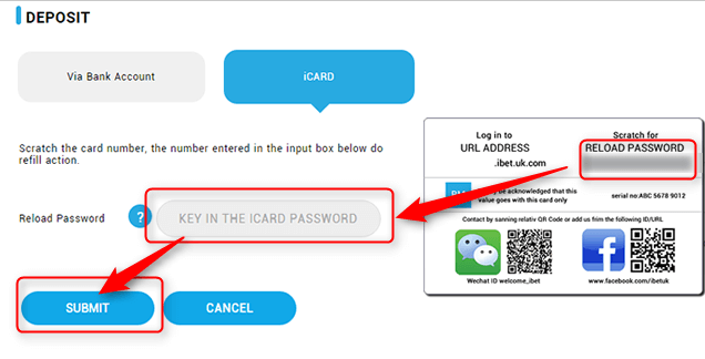 How to use the iBET Onlne Casino Reload Card-4