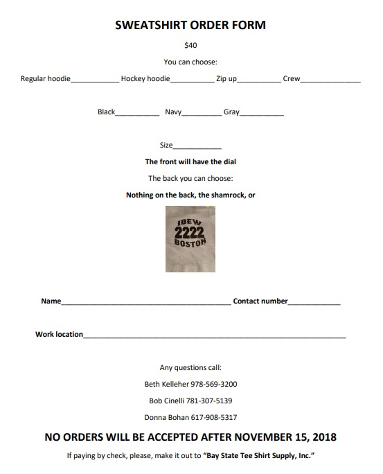 2018 sweatshirt order form