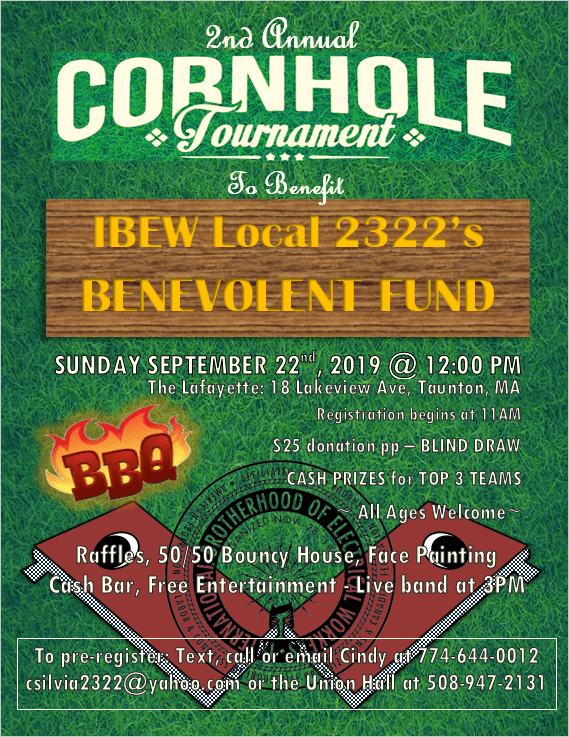 2nd Annual Cornhole Tournament Flyer 2019