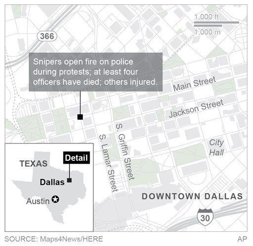 Dallas Shooting map