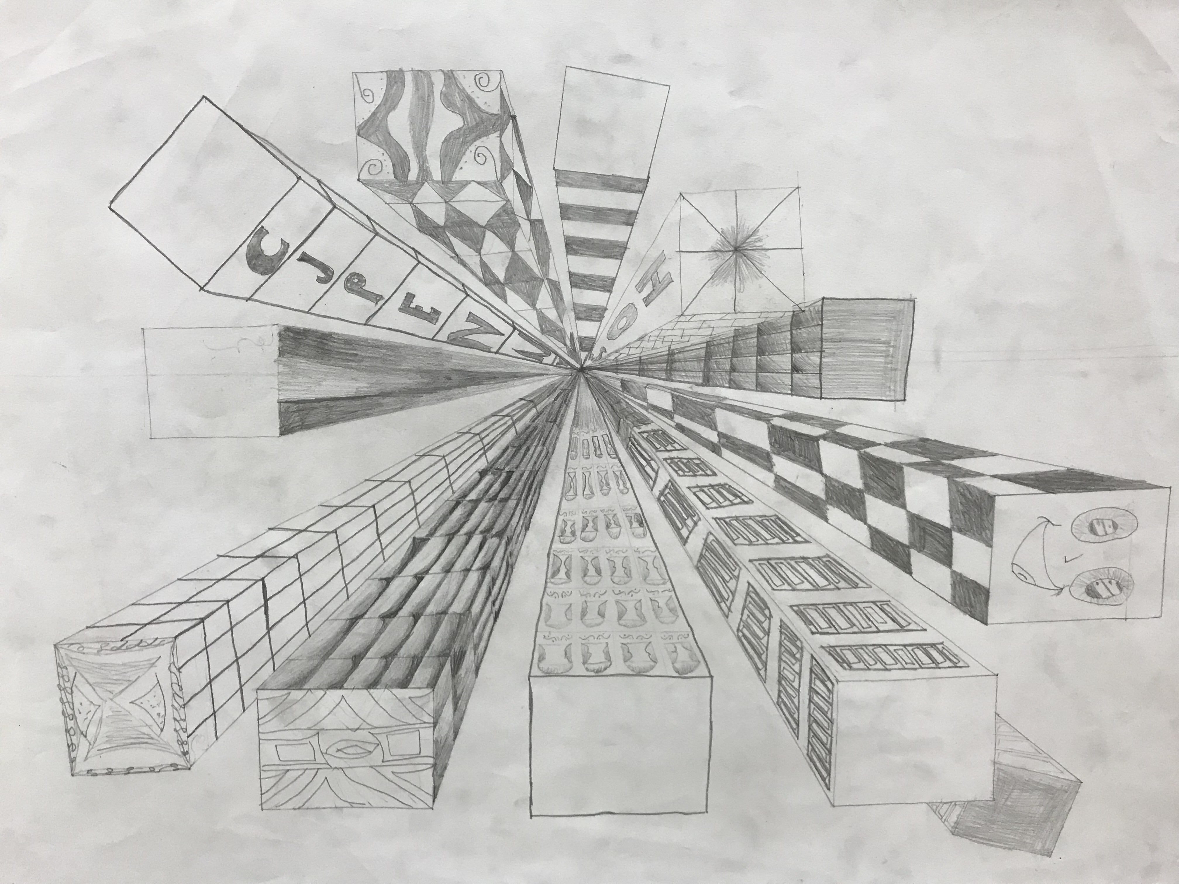One Point Perspective Cities