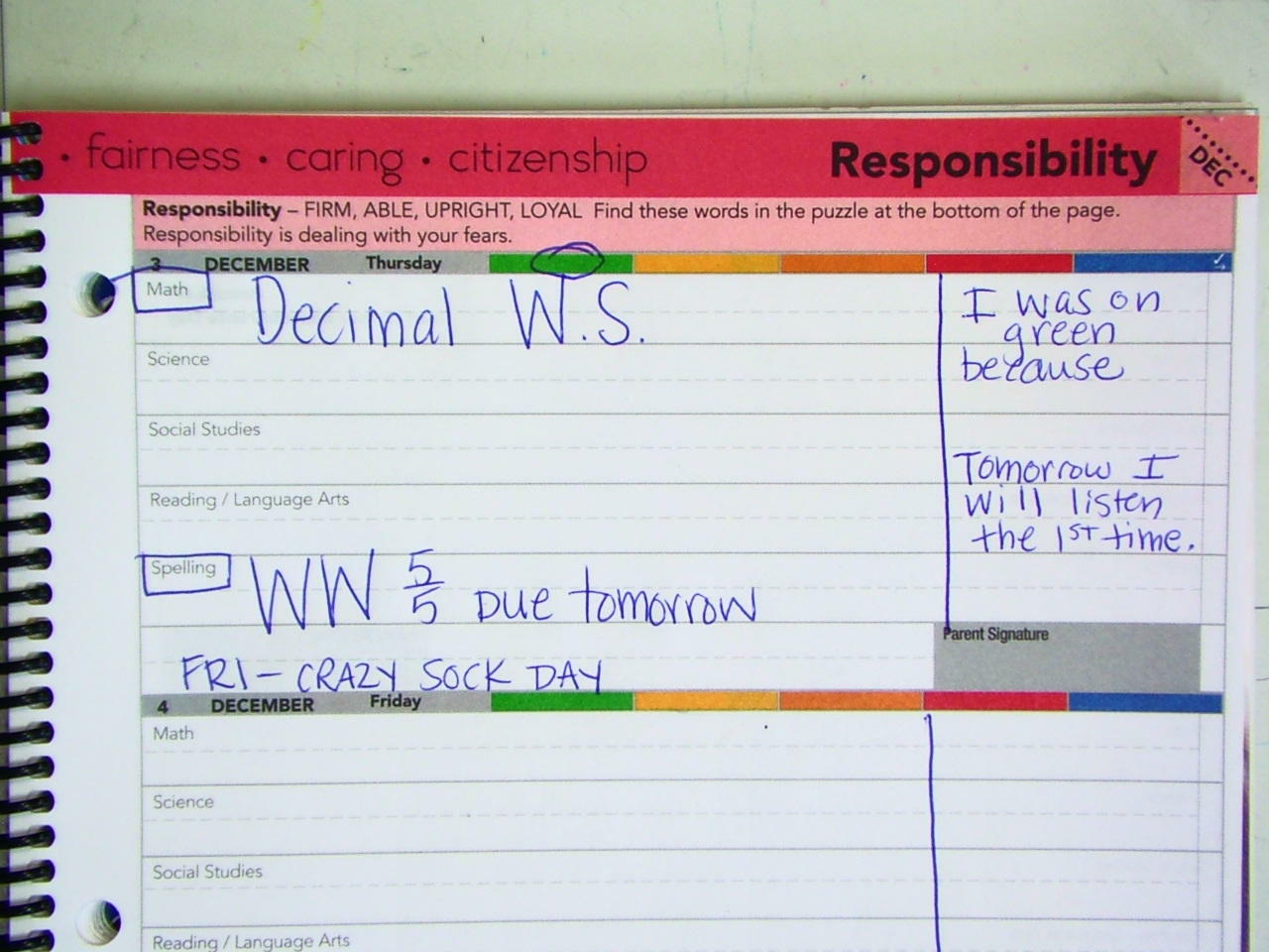 12 3 15 Planner Amp Homework Mrs Brady S 4th Grade Class