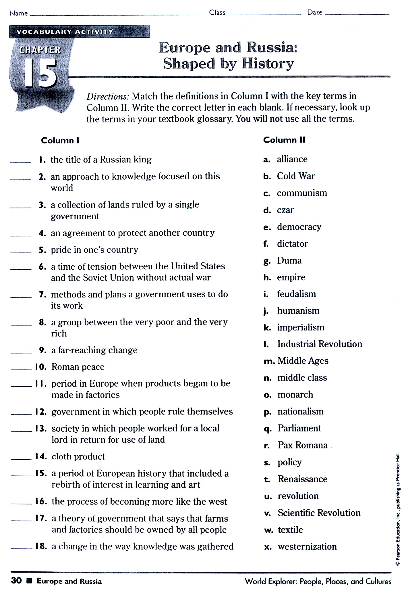 Vocab Worksheet 8th Grade