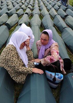Srebrenica Genocide Victims Bosnian Muslim Women Weep