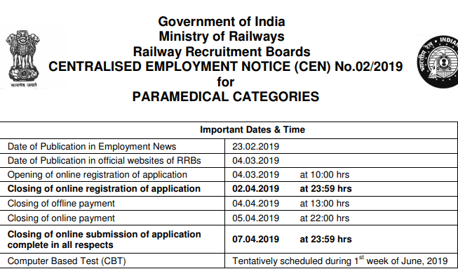 RRB Ahmedabad Paramedical & Level 1 Exam Dates