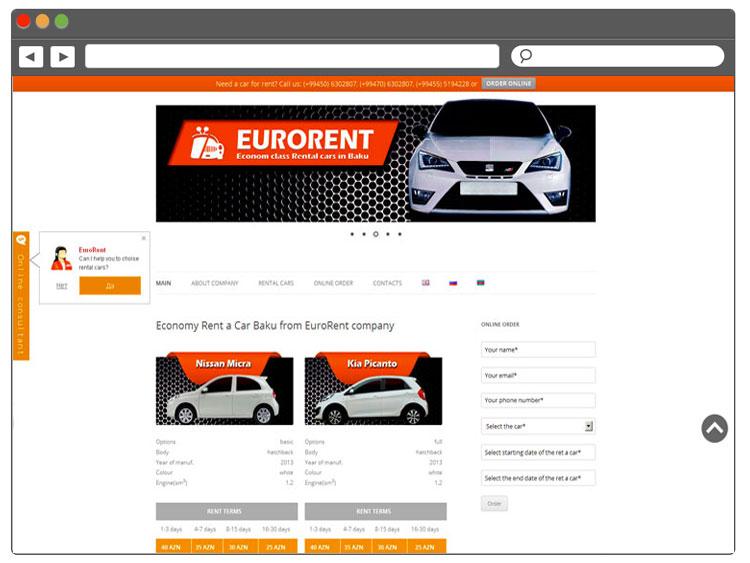 EvroRent şirkəti üçün sayt yaradılması