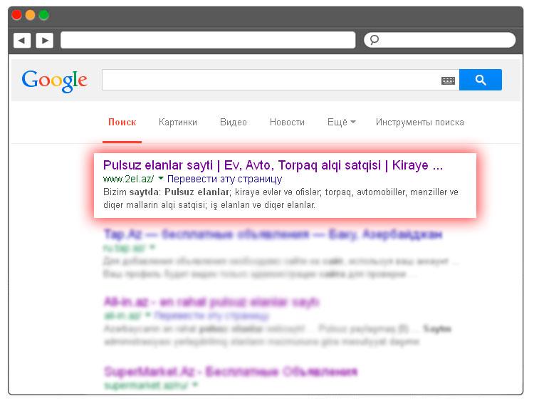 Google-da elanlar saytının irəlləyişi və optimizasiyası