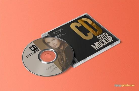 ENVÍO GRATIS CD JEWEL CASE & LABEL STICKER MOCKUP por ZippyPixels