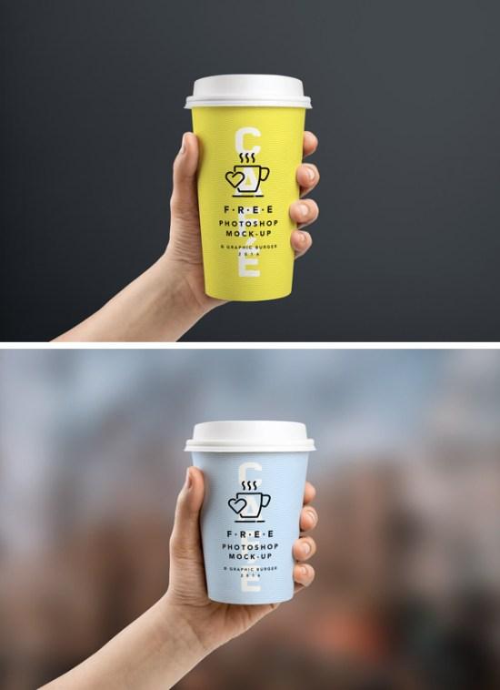 Coffee Cup In Hand MockUp por GraphicBurger