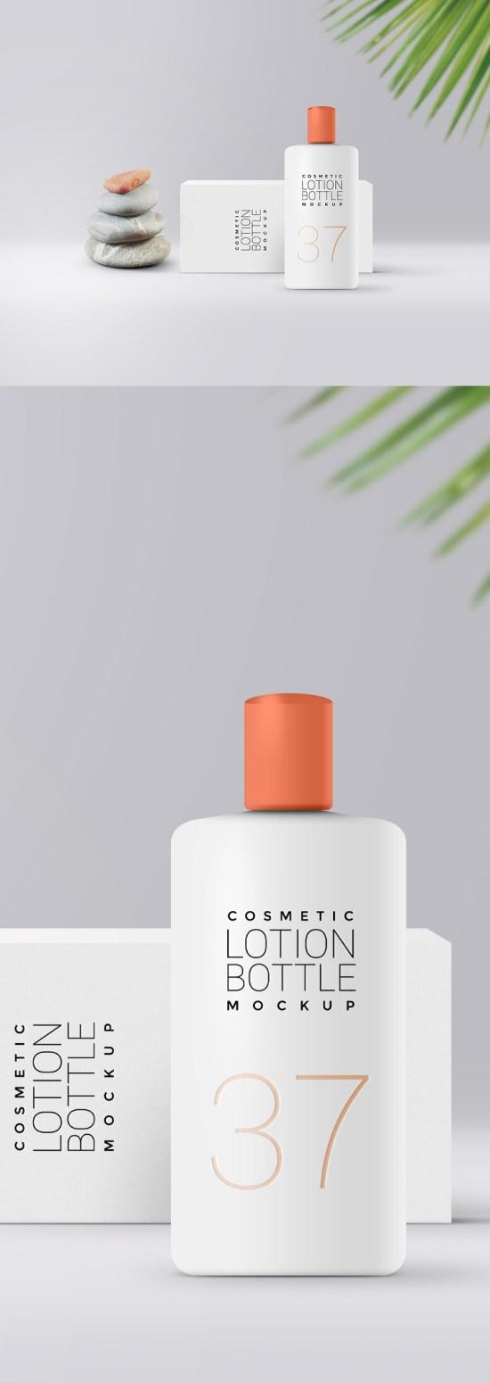 Maqueta de empaquetado cosmético de la loción por GraphicsFuel