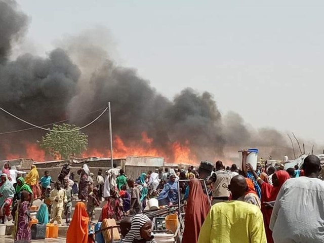 IDPs Camp: 14 burnt to death, as fire destroyed 1,250 shelters in Borno