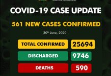 NCDC confirms 561 new cases, as Nigeria's total infections hit 25,694
