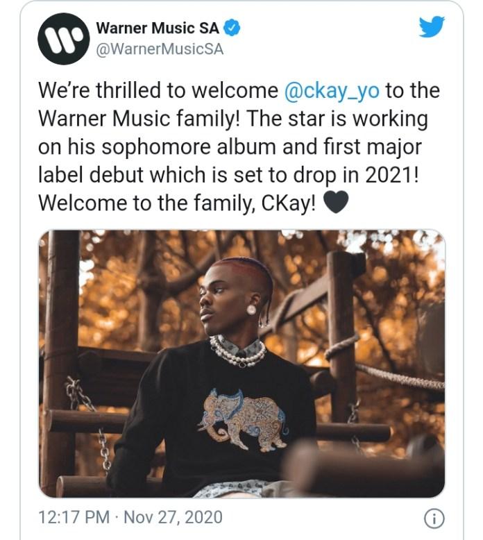 Warner Music Group Signs Nigerian Star Ckay