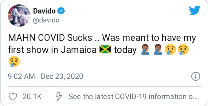 Davido Laments As Organizers Cancel Show In Jamaica