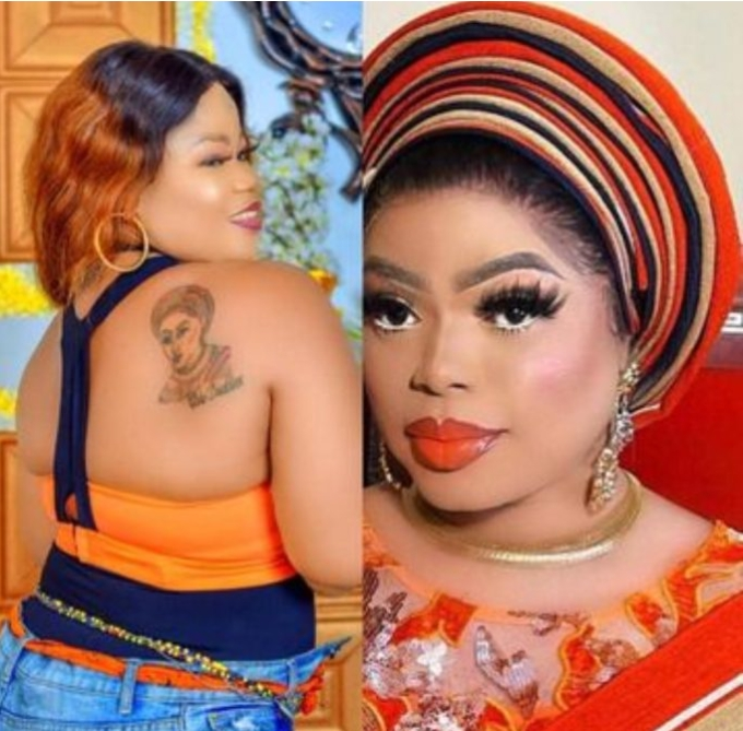 See The Mouth Watering Gifts Bobrisky Promised Fan Who Drew A Tattoo Of Him At Her Back