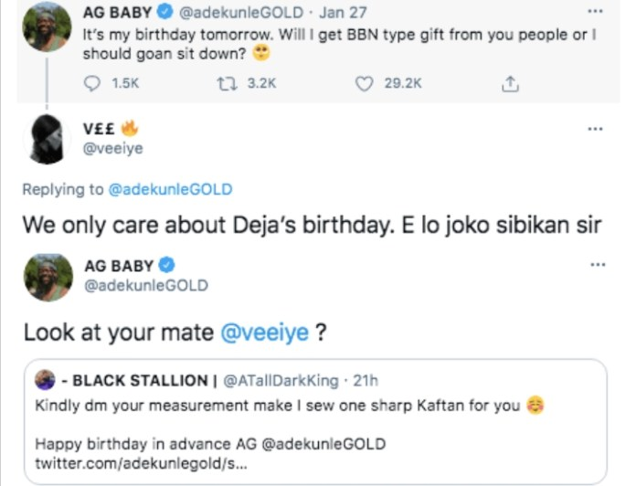 Singer Adekunle Gold Slams BBNaija's Vee After Getting A Birthday Gift From Fan