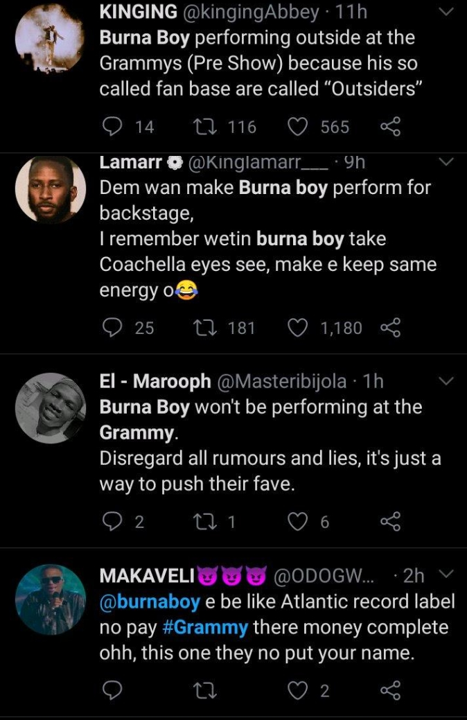 Reactions As Burna Boy's Name Is Omitted From List Of Artistes Performing At Grammy