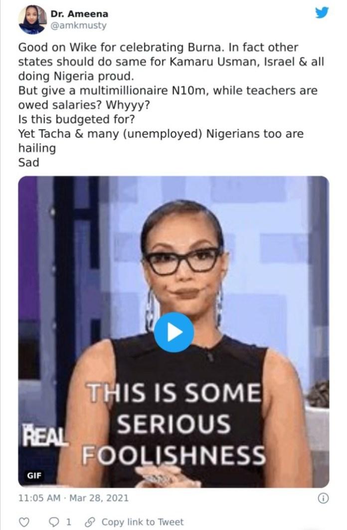 Nigerians Drag Gov. Wike For Giving Burna Boy, Other Artistes N10M