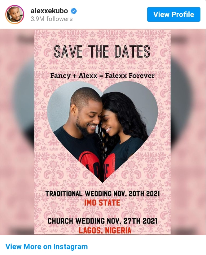 Actor Alexx Ekubo And His Fiancee Fancy Acholonu Announce Their Wedding Dates