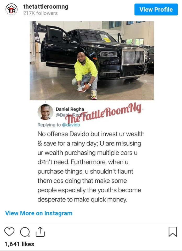 Reactions As Man Advises Davido To Invest For Rainy Days After Acquiring A Car Worth N240M
