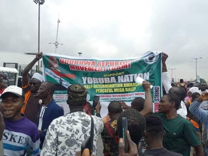 Agitators display banners in support of Yoruba Nation