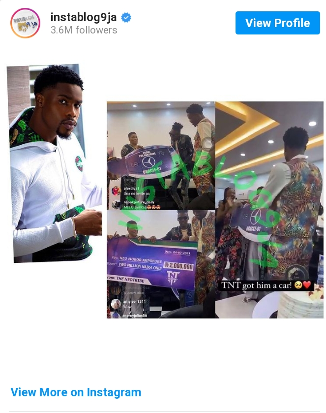 BBNaija's Neo Gets N2M, Car Gift From Fans On His Birthday