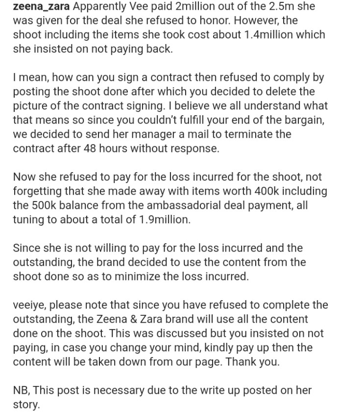 Pay Us The N1.9M You Owe- Clothing Line Drags BBNaija's Vee