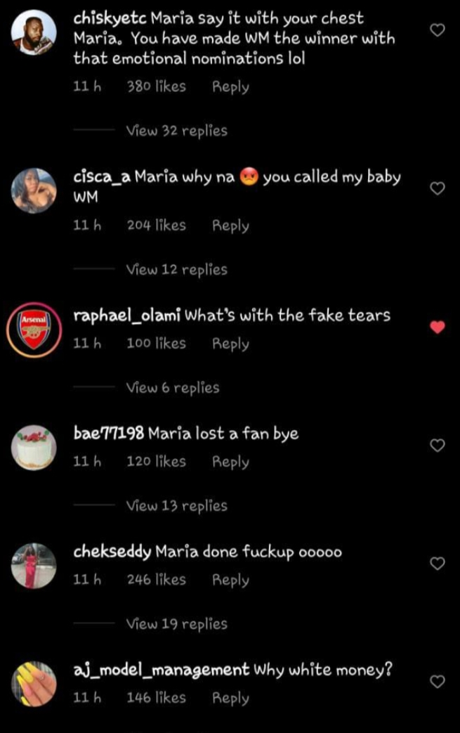 BBNaija 2021: Maria's Fans React After Picking Whitemoney Up For Eviction