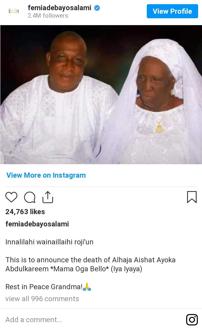 Veteran Yoruba Actor Loses Mom