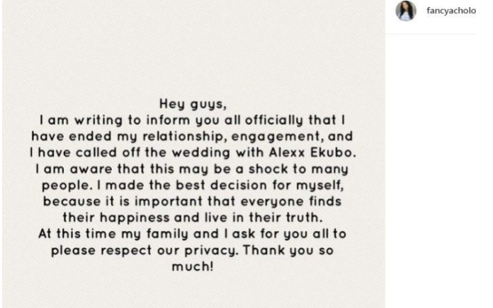 Alexx Ekubo, Fancy Acholonu's Engagement Finally Hit The Rocks
